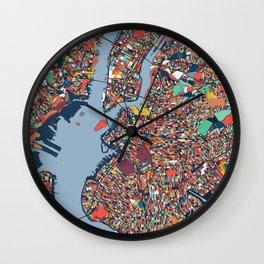 New York City Abstract Map Art Wall Clock
