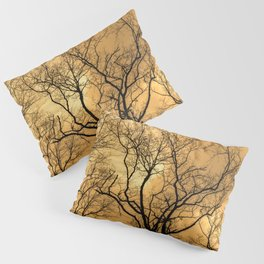 Orange sky, naked trees, haunting forest Pillow Sham