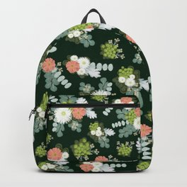 Rustic flowers green Backpack