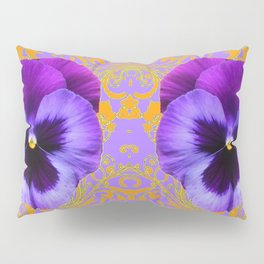 FOUR  PURPLE PANSIES ON LILAC  BROCADE GARDEN Pillow Sham