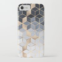 iPhone Cases featuring Soft Blue Gradient Cubes by Elisabeth Fredriksson