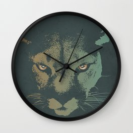 Mountain Lion Night Wall Clock