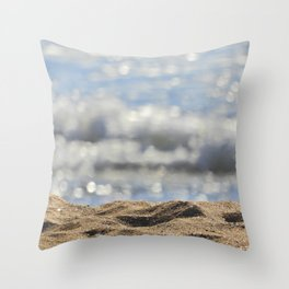 Close up in the beach Throw Pillow