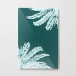 Palm leaves silhouettes on teal Metal Print