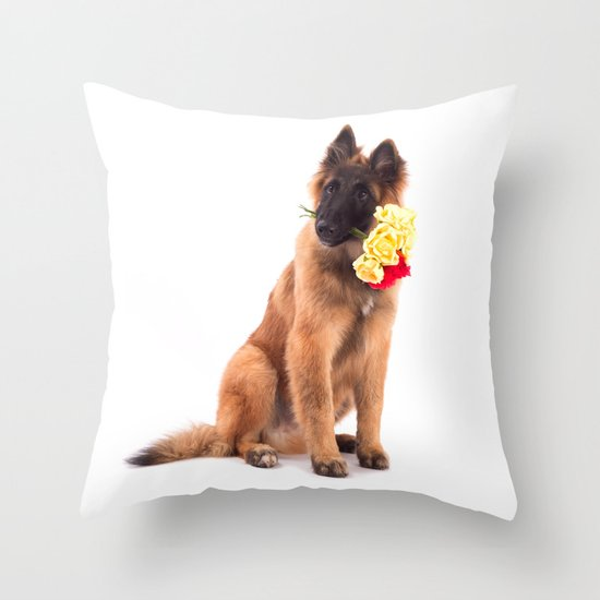 Puppy with roses  Throw Pillow