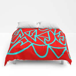 Red blue turquoise gar Comforters