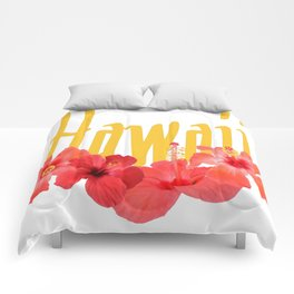 Hawaii Text With Aloha Hibiscus Garland Comforters