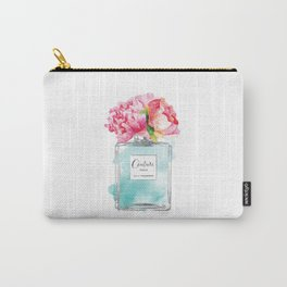 Perfume, watercolor, perfume bottle, with flowers, Teal, Silver, peonies, Fashion illustration Carry-All Pouch
