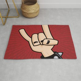Heavy Metal Devil Horns Hand Sign Rug
