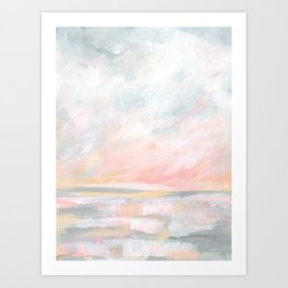 Overwhelm - Pink and Gray Pastel Seascape Art Print