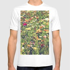 Happy summer meadow vintage style Mens Fitted Tee MEDIUM White