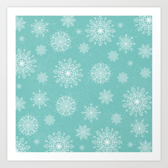 Assorted Snowflakes On Turquoise Backround Art Print