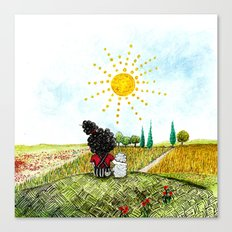 Melita and Maya in the field Canvas Print
