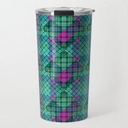 Turquoise green plaid Travel Mug