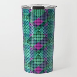 Turquoise green plaid Travel Mug