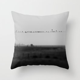 birds on wires in the still of the morning fog ... Throw Pillow