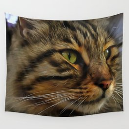 Aslan The Long Haired Tabby Cat Wall Tapestry