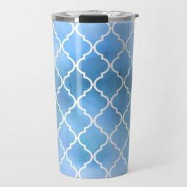 Moroccan Trellis, Latticework, Watercolors - Blue Travel Mug