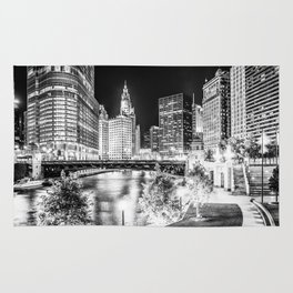 Chicago Cityscape Downtown City River in Black and White Rug