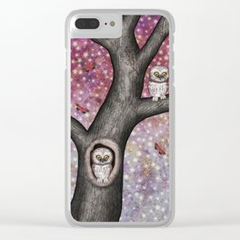 enchanted owls, moths, stars Clear iPhone Case