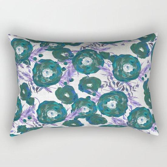 Abstract Poppy Pattern Green Rectangular Pillow