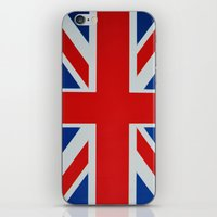 union jack iPhone & iPod Skins featuring Union Jack by MICHELLE MURPHY