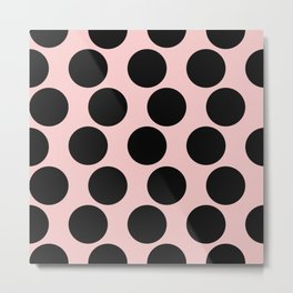 Millennial Pink Brown Dots Metal Print