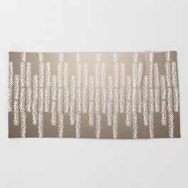 Eye of the Magpie tribal style pattern - champagne Beach Towel