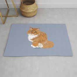 Ginger and White Fluffy Cat Rug