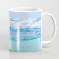 blankets Mugs featuring Kapukaulua Pure Blue Surf by Sharon Mau