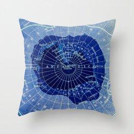 South Pole Neon Map Throw Pillow