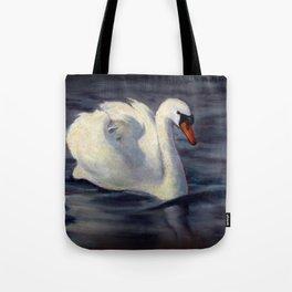 Swan Swimming in Sunshine, Oil Pastel Painting Tote Bag