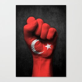Turkish Flag on a Raised Clenched Fist Canvas Print