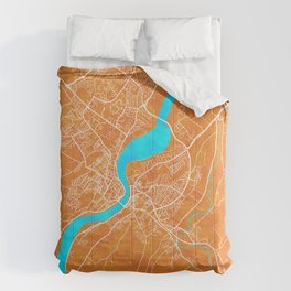 Derry~Londonderry, Northern Ireland, Gold, Blue, City, Map Comforters