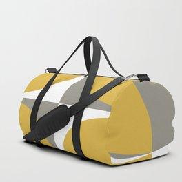 Neutra Quattro Minimalist Mid Century Modern Atomic Age Pattern in Mustard Yellow, Grey, and White Duffle Bag