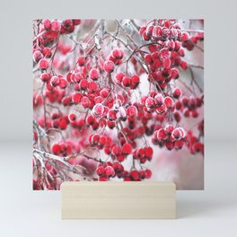Icy Rowan Red Berries Winter Scene #decor #society6 #buyart Mini Art Print