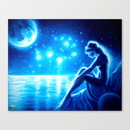 The poet Sappho, the moon and the pleides Canvas Print