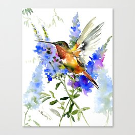 Alen's Hummingbird and Blue Flowers, floral bird design birds, watercolor floral bird art Canvas Print