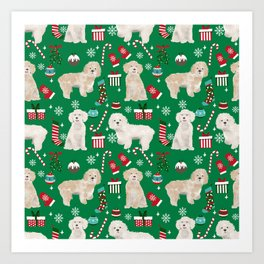 Cockapoo dog breed christmas holiday pet portrait pattern gifts Art Print
