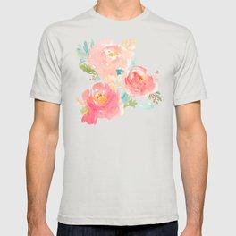 Watercolor Peonies Summer Bouquet T-shirt