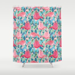 Tropical Flamingo watercolor Shower Curtain