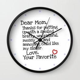 Dear Mom (Sister) Wall Clock