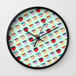 Cute smiling mugs pattern Wall Clock