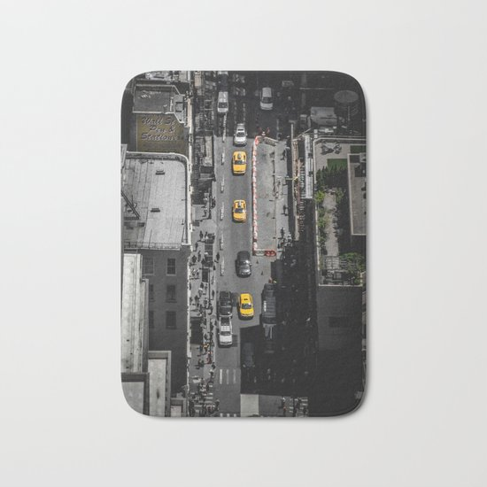 Yellow Cab from Above - Original #society6 exclusive Bath Mat