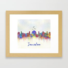 Watercolor Jerusalem City Skyline Framed Art Print