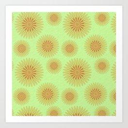 Summer flowers - Green Art Print