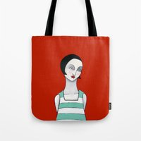 wasted rita Tote Bags featuring Rita by Minsi Design
