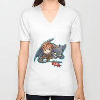 hiccup V-neck T-shirts featuring Httyd 2 - Chibi Hiccup and Toothless by ibahibut
