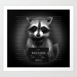 Raccoon Mugshot Art Print