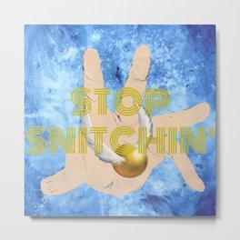 """Stop Golden Snitchin'"" Print Blue/Gold 1/2 Metal Print"